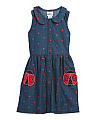 Girls Denim Dress With Ladybug Pockets