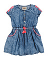 Girls Embroidered Denim Dress