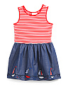Girls Nautical Striped Jersey And Chambray Dress