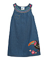 Toddler Girls Denim Dress With Toucan Applique