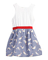 Girls Eyelet And Chambray Narwal Print Dress