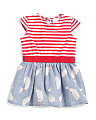 Girls Striped Jersey & Chambray Narwal Dress