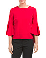 Uneven Hi-lo Bell Sleeve Top