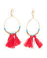 Made In Canada Preciosa Crystal And Cotton Tassel Earrings