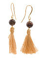 Made In Canada Brown Agate And Cotton Tassel Earrings