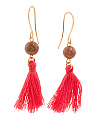 Made In Canada Brown Goldstone And Cotton Tassel Earrings