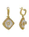 14k Gold Plated Sterling Silver Mother Of Pearl Earrings