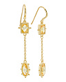 14k Gold Plated Sterling Silver Canary Crystal Drop Earrings