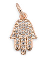 Made In USA Rose Gold Micropave Cz Hamsa Clip On Charm