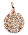 Made In USA Rose Gold Micropave Cz Smiley Clip On Charm