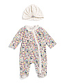 Baby Girls Floral Footie Sleep N Play With Hat