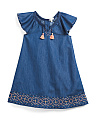 Little Girls Tassel Trim Dress