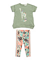 Infant & Toddler Girls Tropical Giraffe Printed Leggings Set