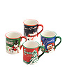 4pk Assorted Retro Christmas Mugs