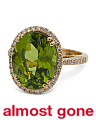 18k Gold Peridot And Diamond Oval Statement Ring