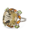 Sterling Silver Champagne Quartz Diamond And Peridot Ring