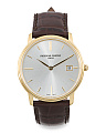 Men's Swiss Made Slim Date Leather Strap Watch