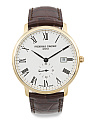 Men's Swiss Made Slimline Leather Strap Watch