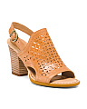 Perforated Heeled Leather Sandals