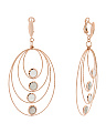 Made In Italy 14k Rose Gold Moonstone Graduated Oval Earrings