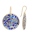 Made In Italy 14k Gold Enamel Filigree Disk Earrings