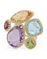 Made In Italy 14k Gold Multi Gemstone Cluster Ring