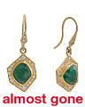 Handmade In USA 22k Gold Emerald And Diamond Earrings