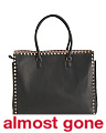 Made In Italy Large Rock Stud Leather Tote