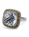 Made In Thailand 925 Silver Swarovski Marcasite Quartz Ring