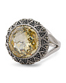 Made In Thailand Sterling Silver Swarovski Marcasite Canary CZ Ring