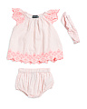 Baby Girls Embroidered Bloomer Set With Headband