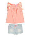 Toddler Girls 2pc Ruffle Sleeve Short Set