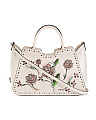 Made In Italy Leather Embroidered Floral Satchel