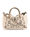 Made In Italy Leather Laser Cut Satchel