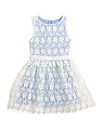 Girls Embroidered Organza Dress