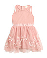 Little Girls Illusion Mesh Dress With Embroidery