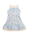 Big Girls Lace Illusion Neck Dress With Peakaboo Hem