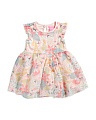 Infant Girls Floral Mesh Dress With Bloomer
