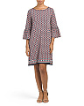 Bell Sleeve Printed Jersey Dress