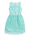 Plus Girls Foil Lace Dress With Pearls
