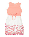 Girls Plus Embroidered Butterfly Mesh Dress