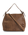 Made In Italy Leather Woven Hobo