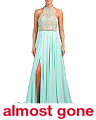 Beaded Halter Gown With Slit