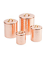 Made In India 4pc Copper Canister Set