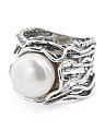 Made In Israel Sterling Silver Pearl Scrolled Ring