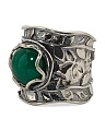 Made In Israel Sterling Silver Green Jade Ring