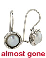 Made In Israel Sterling Silver Pearl Drop Earrings