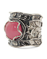 Made In Israel Sterling Silver Pink Jade Ring