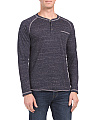Long Sleeve Speckled Henley Shirt