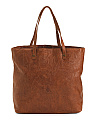 Large Tooled Design Leather Tote